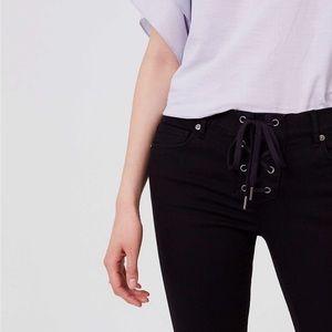 LOFT - Black tie-detail Skinny Jeans